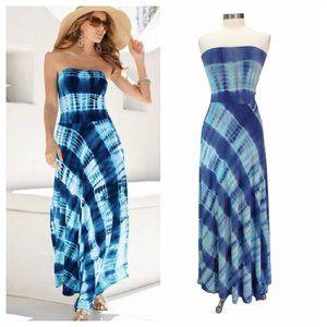 BOSTON PROPER Strapless Tie Dye Maxi Dress Blue
